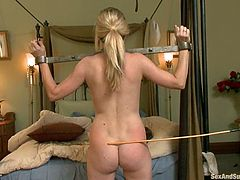 Blonde Angela Attison toys her pussy. After that her employer ties her up and fucks in the mouth. Later on she gets fucked in her tight ass and pussy.