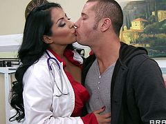 Hot babe Kiara Mia plays doctor and her horny patient has fantasies about fucking his wife's hot daughter so the naughty doctor lets him fill his desire with her pussy.