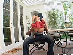 Arousing long haired asian with french manicure and delicious ass in short skirt seduces tall black bull with shaved head and rides on his bazooka in backyard in close up