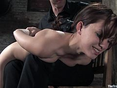 Watch this naughty end up with a big load of cum in her mouth in this hardcore bondage scene where she sucks on her master's cock after being tortured.