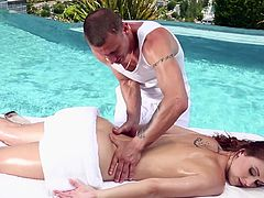 Hot poolside sex with sensual pornstar Karlie Montana