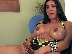 Busty brunette shemale with dangerous look and powerful dick Mariam C jerks in front of the camera using her playful hands with long fingers and hot manicure!