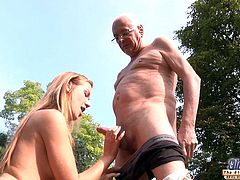 Hot blonde cleaned and fucked by old man