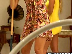 Young pussy loving long haired stunner Adriana Russo and her smoking hot blonde girlfriend with nice natural boobs in sexy summer dresses get horny and lick each other on billiard table