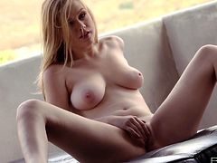 Beautiful natural blonde, Alaina Fox, rubs her neatly trimmed pussy to an amazing pulsating orgasm with her magic fingers in this free solo tube video.