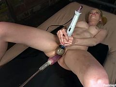Petite blonde girl fingers and also toys herself with a dildo. Later on she lies down on a bed and gets her pink pussy toyed from behind by the fucking machine.
