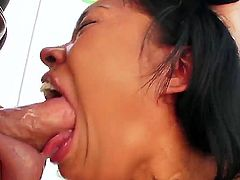 Horny brunette babe Yasmine de Leon likes sucking huge cock and have it splashing her mouth