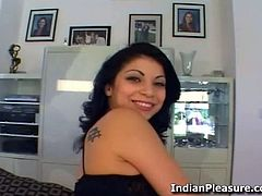 Indian chick Soma poses and shows off her body before she gets her mouth stuffed with black and white cocks.