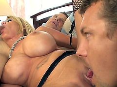 Grace Evangeline is big titted blonde woman. She looks like she was born for hot sex. This hot thing needs to dicks and two tongues to get real satisfaction.