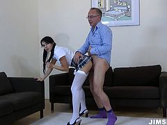 Felicia is wearing sassy college uniform. She tops the rod jumping on it fast. Then she bends over getting penetrated upskirt and banged hard in a doggy position.