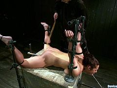 There's some fucked up stuff going on in this BDSM video where the brunette girl Eden Coxxx is experiencing some extreme bondage hanging upside down.
