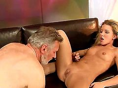 Slutty sexy horny blonde bitch Bianca Arden enjoys giving blowjobs and a good fuck on a chair.