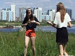 Two mesmerizing Russian amateurs having a great time outdoors running around and having fun. Later they continue playing at home before a steamy lesbian sex.