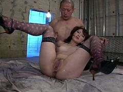 After getting her wet pussy tickled this submissive whore from Japan desires to be fed with tasty cum. Pale filth kneels down and gives stout blowjobs to two hot dicks right in some dirty and deserted room.