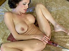 Watch Veronica Avluv in this clip where she gets rubber fucked by the sex machine while she plays with the vibrator. This brunette really knows how to pleasure herself!