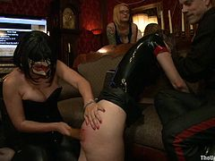 Get a load of this bondage scene where a sexy babes have a great time being pleased and tortured by their master as you watch.