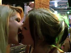 Check out two tipsy brunette and blonde whores licking each other's faces and kissing French style right in front of bunch of drunk party chicks.