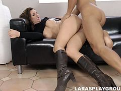 The best delight for hot brunette in high boots is to be poked both missionary and doggy. Ardent nympho with sweet tits and not bad ass is a terrific dick rider, who's worth checking out in incredibly hot Jim Slip sex clip.