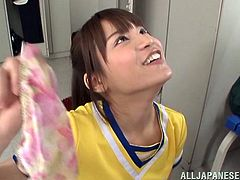 Ai Nikaidou the petite girl in cheerleader uniform gives a blowjob to some guy and then gets her mouth filled with cum.