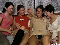 Once a group of young and playful chics are done skiing outdoors, they head home where they get totally naked before an insane lesbian sex orgy starts.