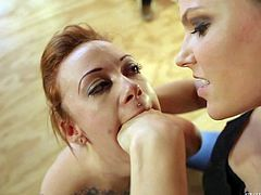 Tattooed redhead Sparky Sin Claire with juicy ass gets humiliated by curious brunette Bobbi Starr and dark guy. She gets her asshole licked and her mouth fucked. Watch juicy ass redhead get used.