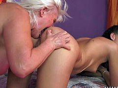 Lyen Parker and Judi are sex obsessed old and young lesbian. Young brunette and aged blonde tongue fuck each others sweet holes with big desire. Watch them have crazy fun in the bedroom.