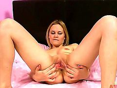 This curvy prostitute has the huge vagina, that can get two cocks at the same time. Kirstya cunt was drilled a lot of times, but now she is alone and masturbates to have fan by herself