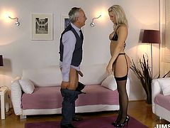 Blanch takes on a hot black lingerie looking incredibly seductive and hot. She walks around the hall demonstrating her shape. Thens he gives quality blowjob to a horny geezer.