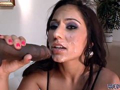 See the perverse brunette babe Reena Sky gagging herself on her man's black dong before provoking him .Her tight hole is pounded real hard from back side.Enjoy!