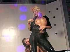 Madly horny bitch is brutally screwed on a stage