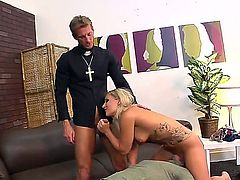 Blonde slut Cali Carter enjoys huge cock drilling her deep and making her moan like sluts
