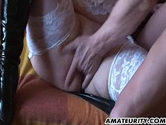 A busty blonde mature amateur Milf homemade hardcore action with beaver, blowjob and fuck ! She drinks cum from his condom !