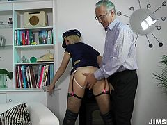 She is provocative blonde hoe wearing seductive costume. She spreads her legs caressing wet twat in front of cam. Jim Slip presents you this naughty porn model.