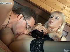 Stunning blonde MILF in sexy lingerie gets her pussy licked. After that she gets fucked in her mouth and ass.