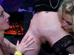 Sextractive white hoes in steamy lingerie and seductive stockings get banged in doggy pose by rapacious fuckers, while two other hussies give bad times to pinkish vagina of steamy blondie in sultry group sex video by Tainster.