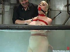 Tied up blonde girl lies on the cold stone floor. The guy toys her pussy and hoses with cold water. After that he throws her into and aquarium.