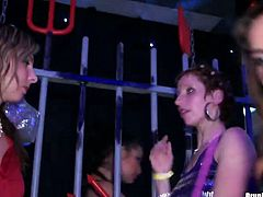 Entire dance floor is filled with half-naked hussies in lingerie and stockings as they dance steamy dances and rub over each other and aroused dudes in insane group sex video by Tainster.