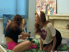 Joky fight on a bed ends up with a steamy lesbian sex session: two playful Russian amateurs fight and goof around before they start taking off their clothes in sultry sex video by Club Seventeen.