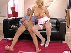 Doll alike babe Pamela wearing white fishnet stockings bends over the couch getting brutally poked from behind. Later she sucks hard dick deepthroat.