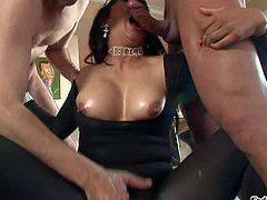 Mika Tan is a round assed asian pornstar in black tight fit body suit and red shoes. She shows off her booty and boobs as she pleasures two sturdy cock in threesome action. Watch her do it.