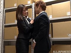Japanese businesswoman Maki Kouta seduces her lawyer and plays dirty games with him. They have oral sex and then Maki gets her snatch drilled from behind.