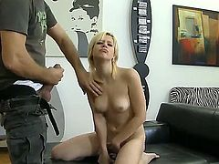 Short haired slender blonde bitch Nina A with pierced tongue and natural boobs spreads long legs and stuffs her shaved tight pussy with dildo for famous Rocco Siffredi in pov.