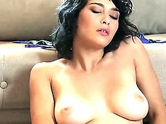 Adorable black haired doll Busty doll Raven Rockette with perfectly shaped hooters and red nails gets naked and polishes her hairy cunny to orgasm on the floor in living room.