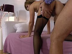 Gorgeous MILF hottie Sylvia is getting screwed by old perverted jerk