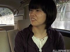 Kinky Japanese girl shows her tits and pussy right in a car. After that she gives a blowjob in close-up POV video.