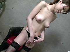 Skinny Japanese babe takes off her strict outfit and lingerie remaining fully naked in front of aroused blindfolded dude before she starts teasing her shaved cunt with fingers.