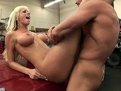 Blonde milf with big tits feels great while having her pink pussy smashed in dirty hardcore