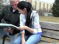 Sophisticated bald wanker notices a fuckable brunette teen reading a book on the bench. Her joins her to lure her to bed in steamy sex clip by Club Seventeen.