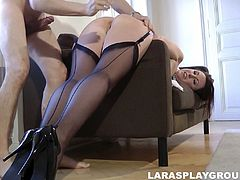This tall British lady in stockings turns into a hot slut in a flash. Spoiled kinky nympho in heels has a strong desire to ride a dick. Extremely voracious for cum nympho wanna give a stout blowjob before being hammered tough.