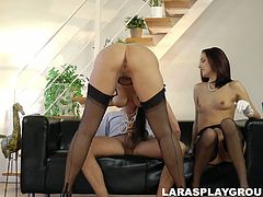 Watch this gorgeous women working their mouths on a hard dick on perverted old dude giving him tremendous double blowjob.